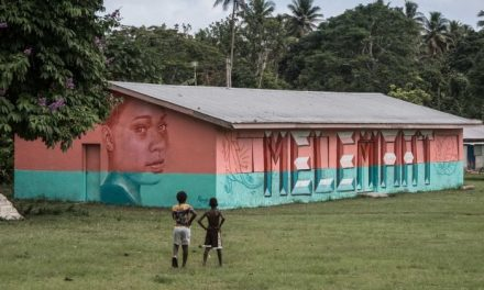 Melbourne artist Rone takes a break from island holiday to paint Vanuatu community centre