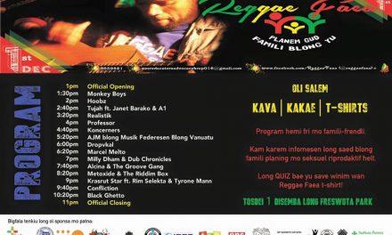 Reggae Faea Health Campaign Music Festival – Dec 1st 2016