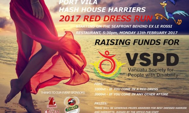 Port Vila Hash House Harriers Red Dress Run – Mon 13th Feb 2017