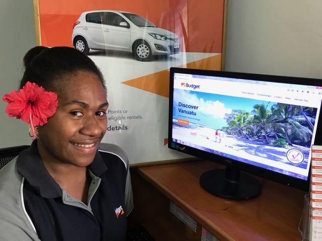 Budget Vanuatu Budget Vanuatu's Elisha Allan test drives the new Budget Vanuatu website LR