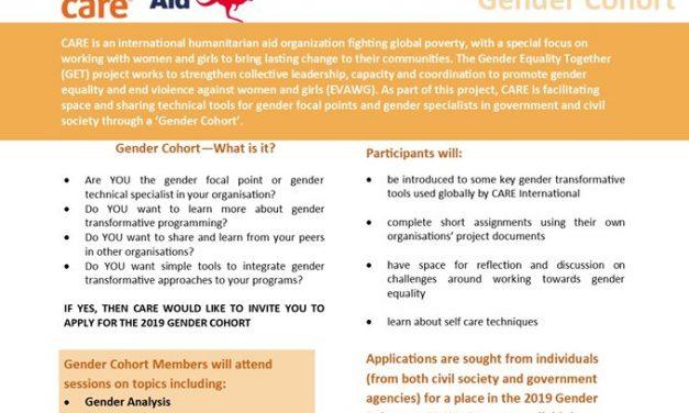 Apply to join CARE Vanuatu's Gender Cohort